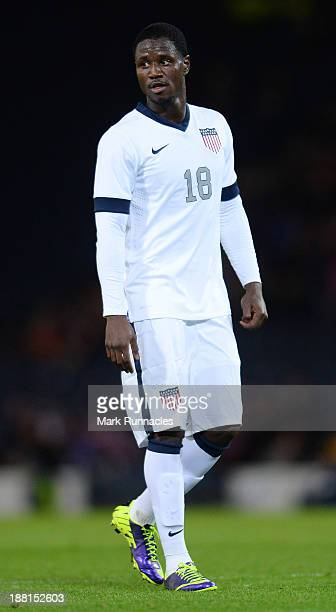 Eddie Johnson of USA in action during the International Friendly match between Scotland and USA at Hampden Park on November 15 2013
