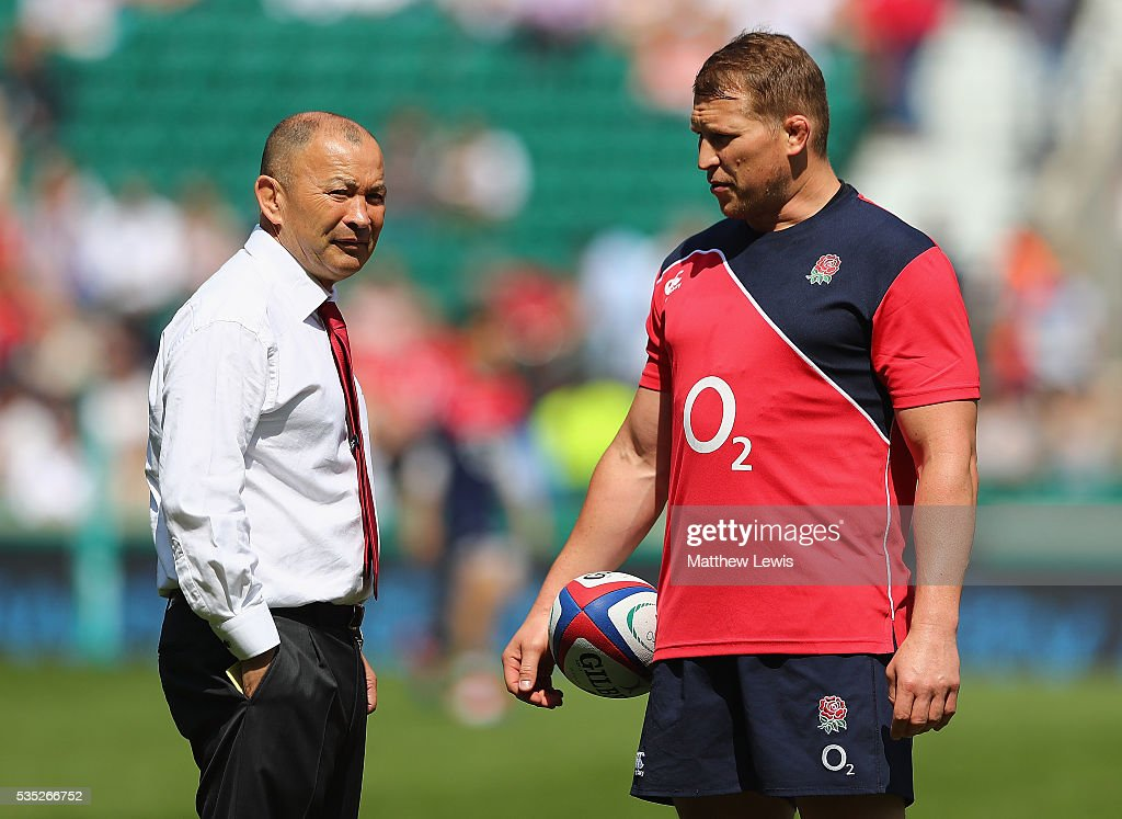 <a gi-track='captionPersonalityLinkClicked' href=/galleries/search?phrase=Eddie+Jones+-+Rugby+Coach&family=editorial&specificpeople=13966519 ng-click='$event.stopPropagation()'>Eddie Jones</a>, Coach of England looks on with <a gi-track='captionPersonalityLinkClicked' href=/galleries/search?phrase=Dylan+Hartley&family=editorial&specificpeople=764177 ng-click='$event.stopPropagation()'>Dylan Hartley</a> of England ahead of an International Friendly match between England and Wales at Twickenham Stadium on May 29, 2016 in London, England.