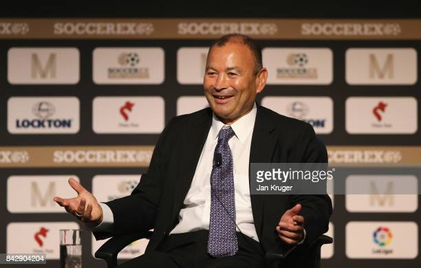 Eddie Jones England Rugby Union Head Coach talks during day 2 of the Soccerex Global Convention at Manchester Central Convention Complex on September...