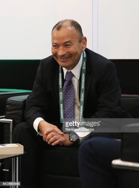 Eddie Jones England Rugby Union Head Coach talks in the La Liga lounge during day 2 of the Soccerex Global Convention at Manchester Central...