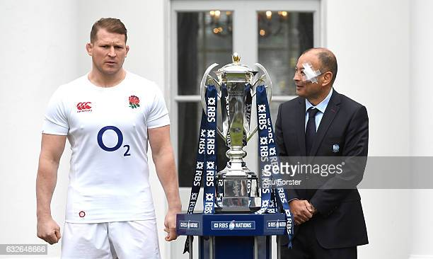 Eddie Jones Head Coach of England and Dylan Hartley Captain of England pose with the 6 Nations Trophy during the 2017 RBS Six Nations launch at The...