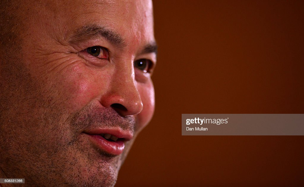 Eddie Jones, Head Coach of England faces the media during a press conference at Pennyhill Park on February 4, 2016 in Bagshot, England.