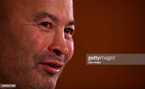 Eddie Jones Head Coach of England faces the media during a press conference at Pennyhill Park on February 4 2016 in Bagshot England