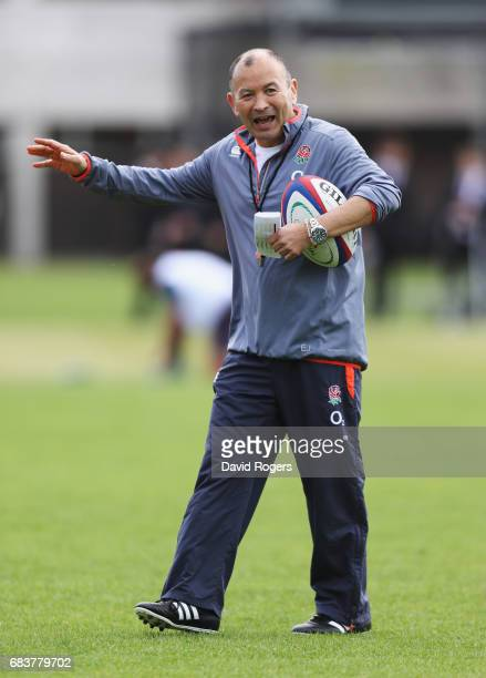 Eddie Jones head coach of England gives instructions during England Media Access at Brighton College on May 16 2017 in Brighton England