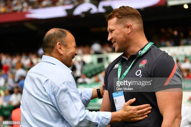 Eddie Jones Head Coach of England greets Dylan Hartley of England prior to the Old Mutual Wealth Cup match between England and The Barbarians at...