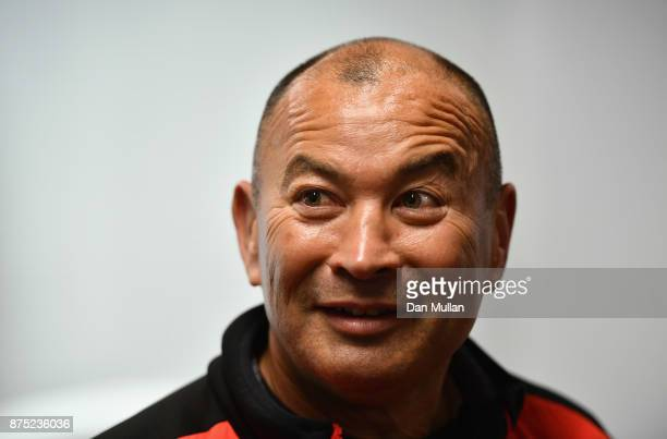 Eddie Jones head coach of England looks on at a press conference during the England Captain's Run at Twickenham Stadium on November 17 2017 in London...