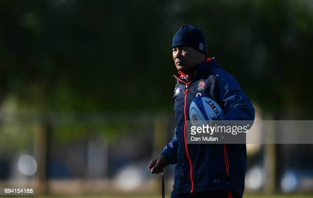 Eddie Jones Head Coach of England looks on during a training session at the Universitario Rugby Club on June 9 2017 in San Juan San Juan
