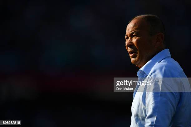 Eddie Jones Head Coach of England looks on prior to the ICBC Cup match between Argentina and England at Estadio Brigadier General Estanislao Lopez on...