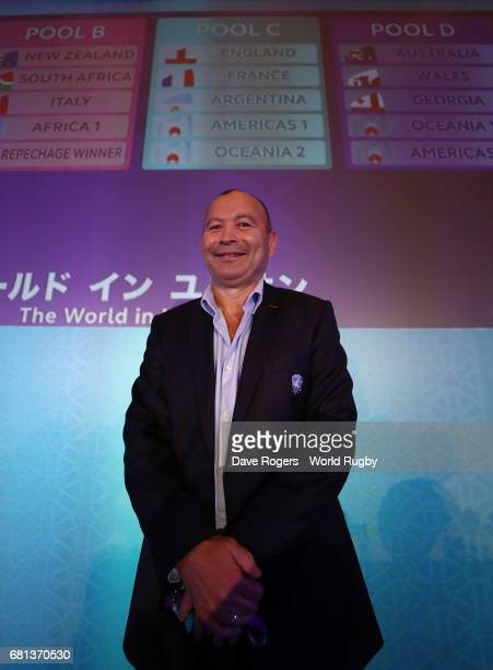Eddie Jones Head Coach of England poses during the Rugby World Cup 2019 Pool Draw at the Kyoto State Guest House on May 10 2017 in Kyoto Japan