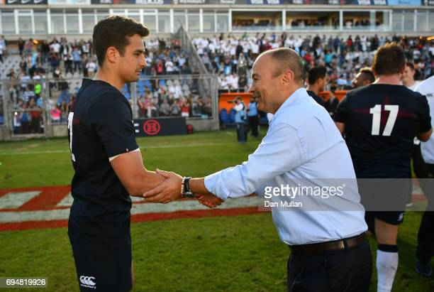 Eddie Jones Head Coach of England shakes hands with Alex Lozowski of England following the ICBC Cup match between Argentina and England at the...