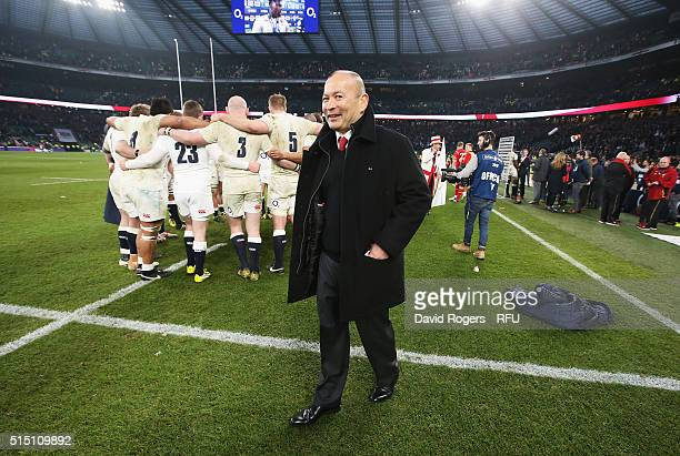 Eddie Jones head coach of England smiles after the RBS Six Nations match between England and Wales at Twickenham Stadium on March 12 2016 in London...
