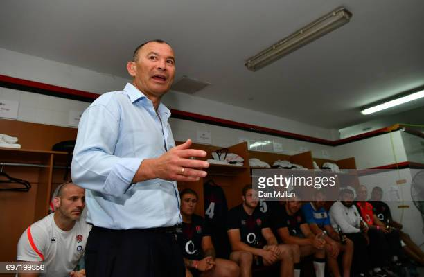 Eddie Jones Head Coach of England speaks to his players in the changing room following their victory during the ICBC Cup match between Argentina and...