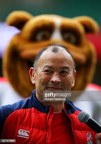 Eddie Jones Head Coach of England speaks to the crowd during an England Rugby open training session at Twickenham Stadium on January 29 2016 in...