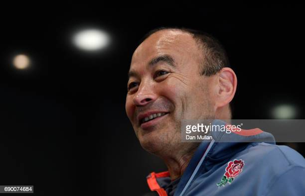 Eddie Jones Head Coach of England speaks to the media during an England Media Access at The Lensbury on May 30 2017 in Teddington England