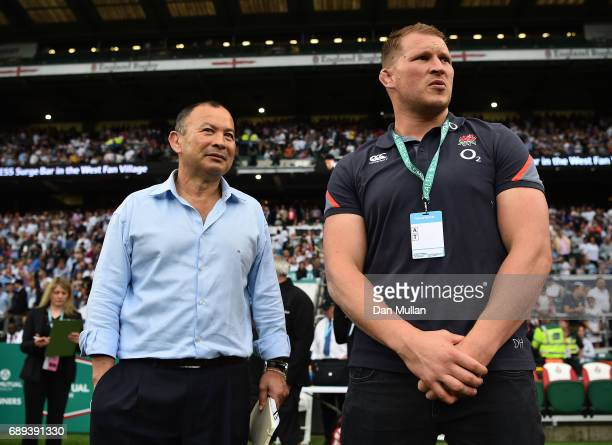 Eddie Jones Head Coach of England talks with Dylan Hartley of England following the Old Mutual Wealth Cup match between England and The Barbarians at...