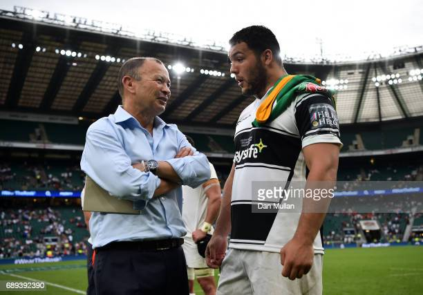 Eddie Jones Head Coach of England talks with Ellis Genge of England following the Old Mutual Wealth Cup match between England and The Barbarians at...