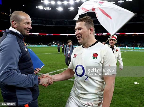 Eddie Jones the England head coach and Dylan Hartley of England shake hands after the game during the Old Mutual Wealth Series match between England...