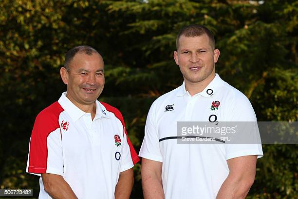 Eddie Jones the England Head Coach and Dylan Hartley the newly appointed England Captain pose during the England EPS Six Nations Squad Portrait...