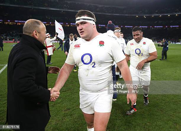 Eddie Jones the England head coach congratulates Jamie George after his teams victory during the RBS Six Nations match between England and Ireland at...