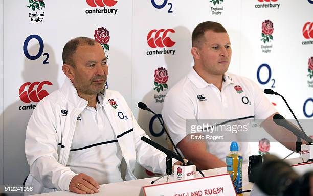Eddie Jones the England head coach faces the media alongside his captain Dylan Hartley during the England media conference held at Pennyhill Park on...