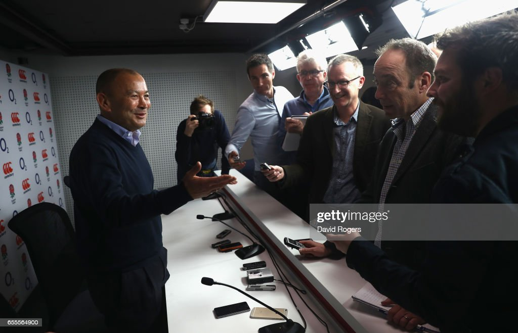 Eddie Jones, the England head coach faces the media at Twickenham Stadium on March 20, 2017 in Twickenham, England.
