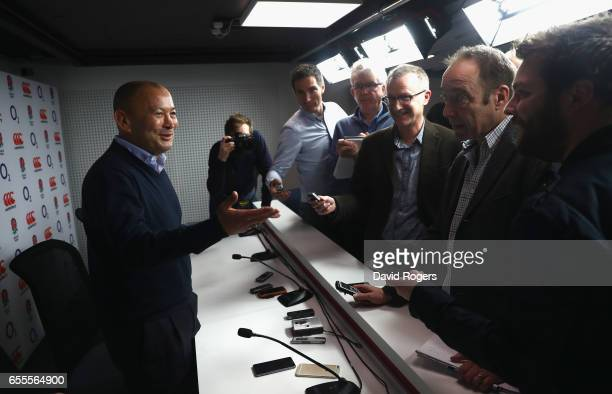 Eddie Jones the England head coach faces the media at Twickenham Stadium on March 20 2017 in Twickenham England
