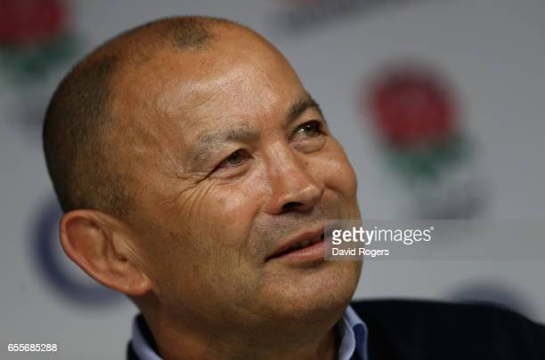 Eddie Jones the England head coach faces the media at Twickenham Stadium on March 20 2017 in Twickenham England
