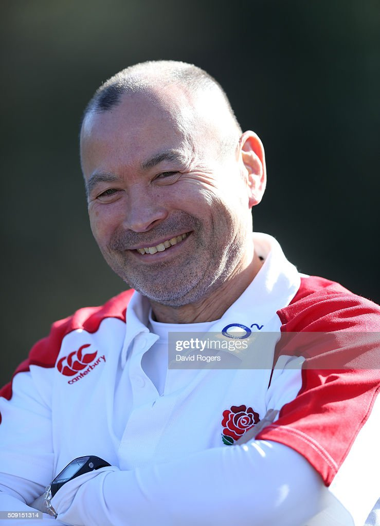 <a gi-track='captionPersonalityLinkClicked' href=/galleries/search?phrase=Eddie+Jones+-+Rugbycoach&family=editorial&specificpeople=13966519 ng-click='$event.stopPropagation()'>Eddie Jones</a>, the England head coach, faces the media during the England media sessiion held at Pennyhill Park on February 9, 2016 in Bagshot, England.