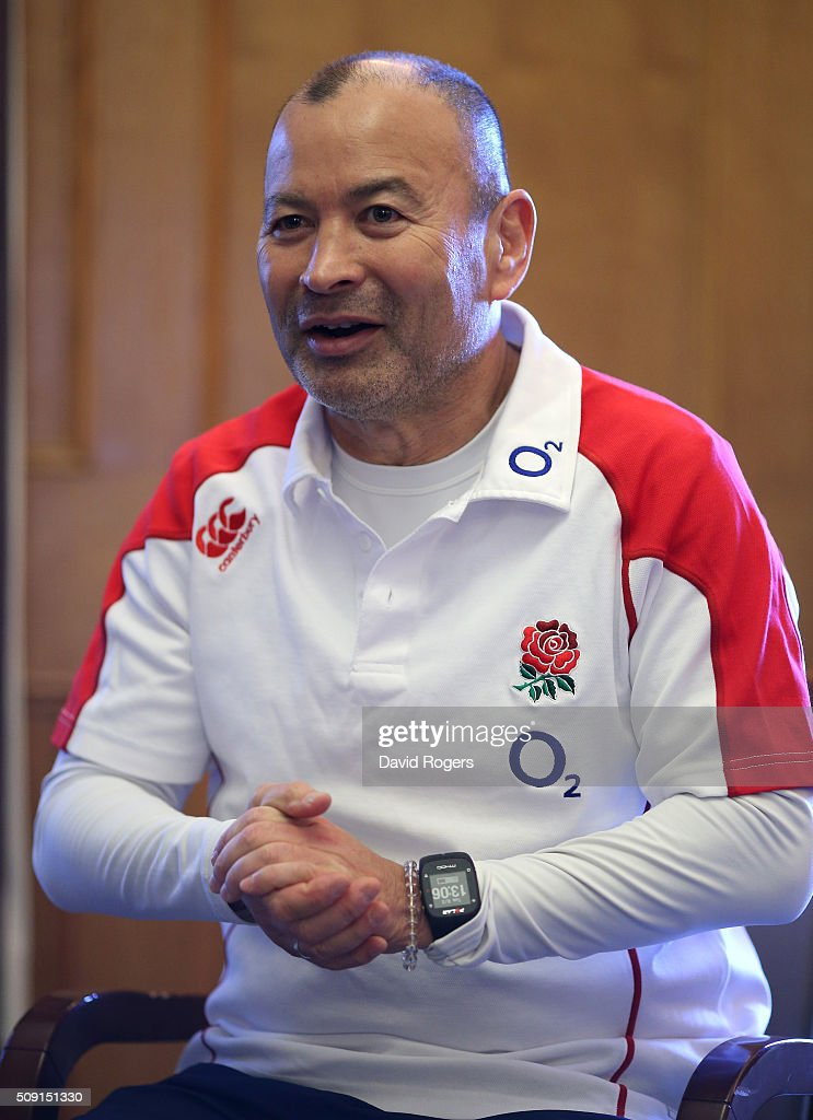 Eddie Jones, the England head coach, faces the media during the England media sessiion held at Pennyhill Park on February 9, 2016 in Bagshot, England.