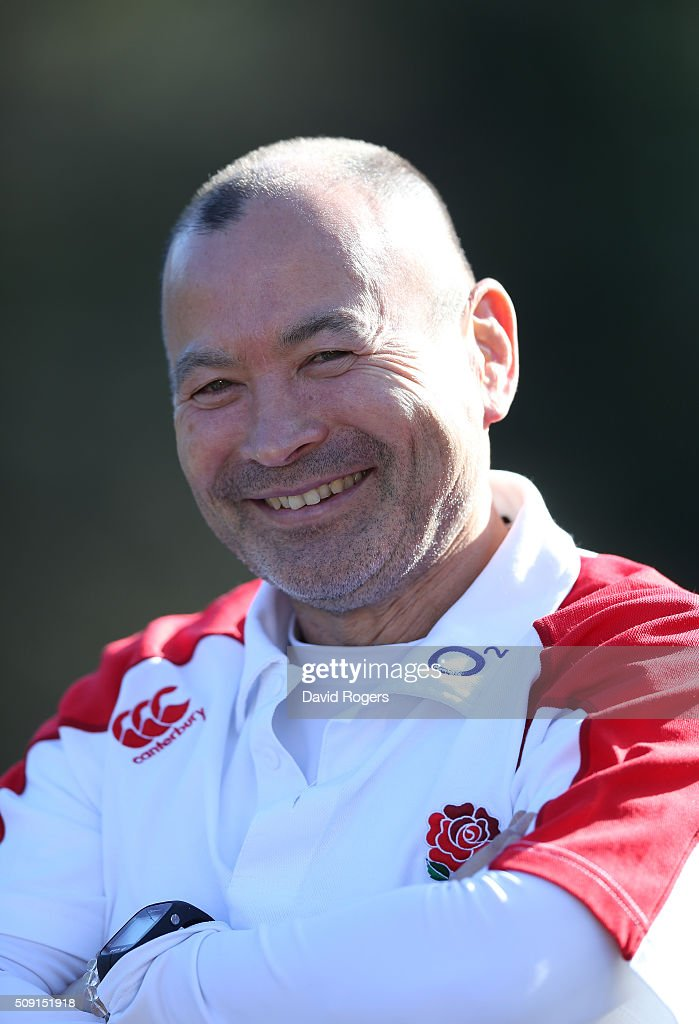 <a gi-track='captionPersonalityLinkClicked' href=/galleries/search?phrase=Eddie+Jones+-+Rugbytrainer&family=editorial&specificpeople=13966519 ng-click='$event.stopPropagation()'>Eddie Jones</a>, the England head coach, faces the media during the England media sessiion held at Pennyhill Park on February 9, 2016 in Bagshot, England.