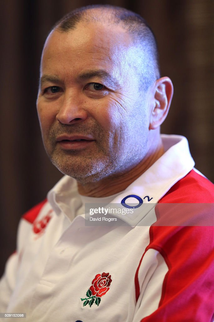 <a gi-track='captionPersonalityLinkClicked' href=/galleries/search?phrase=Eddie+Jones+-+Entra%C3%AEneur+de+rugby&family=editorial&specificpeople=13966519 ng-click='$event.stopPropagation()'>Eddie Jones</a>, the England head coach, faces the media during the England media sessiion held at Pennyhill Park on February 9, 2016 in Bagshot, England.