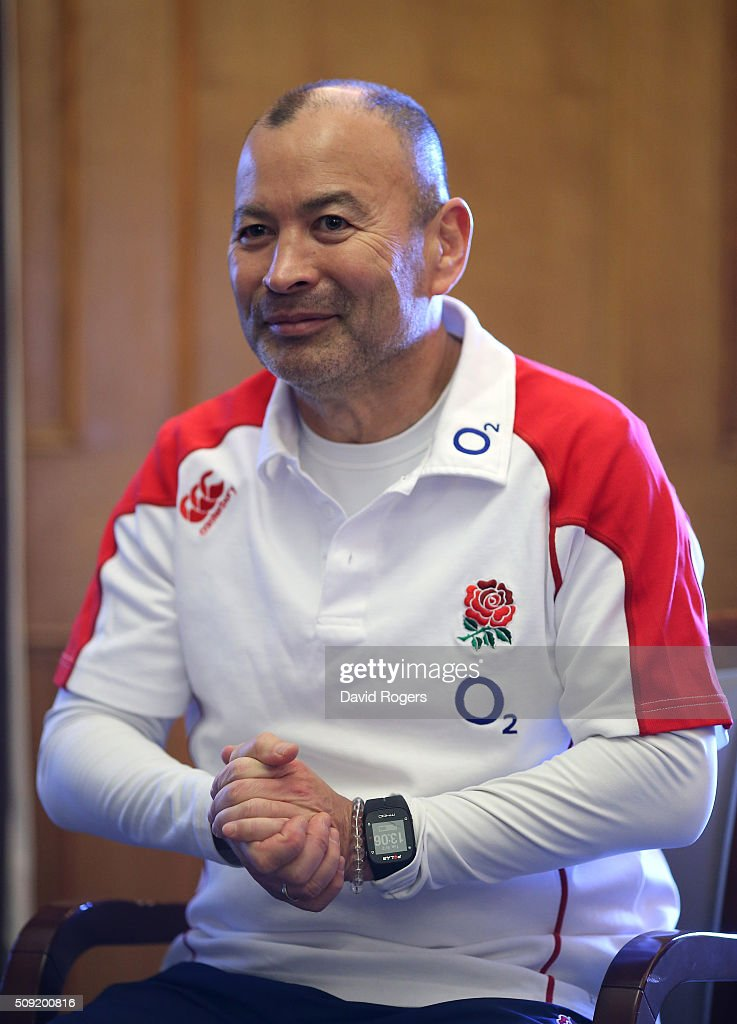 <a gi-track='captionPersonalityLinkClicked' href=/galleries/search?phrase=Eddie+Jones+-+Allenatore+di+rugby&family=editorial&specificpeople=13966519 ng-click='$event.stopPropagation()'>Eddie Jones</a>, the England head coach, faces the media during the England media sessiion held at Pennyhill Park on February 9, 2016 in Bagshot, England.