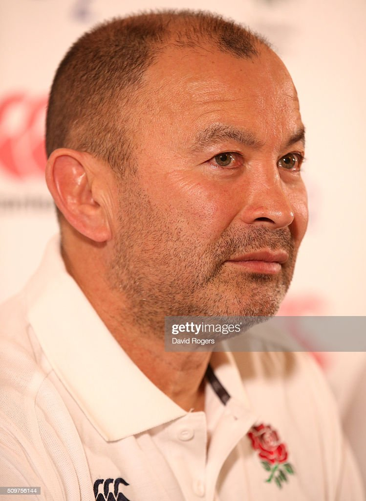 <a gi-track='captionPersonalityLinkClicked' href=/galleries/search?phrase=Eddie+Jones+-+Rugby+Coach&family=editorial&specificpeople=13966519 ng-click='$event.stopPropagation()'>Eddie Jones</a>, the England head coach, faces the media during the England media session held at Pennyhill Park on February 12, 2016 in Bagshot, England.