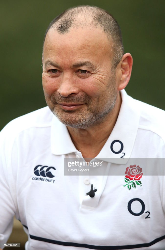 <a gi-track='captionPersonalityLinkClicked' href=/galleries/search?phrase=Eddie+Jones+-+Rugbycoach&family=editorial&specificpeople=13966519 ng-click='$event.stopPropagation()'>Eddie Jones</a>, the England head coach, faces the media during the England media session held at Pennyhill Park on February 12, 2016 in Bagshot, England.