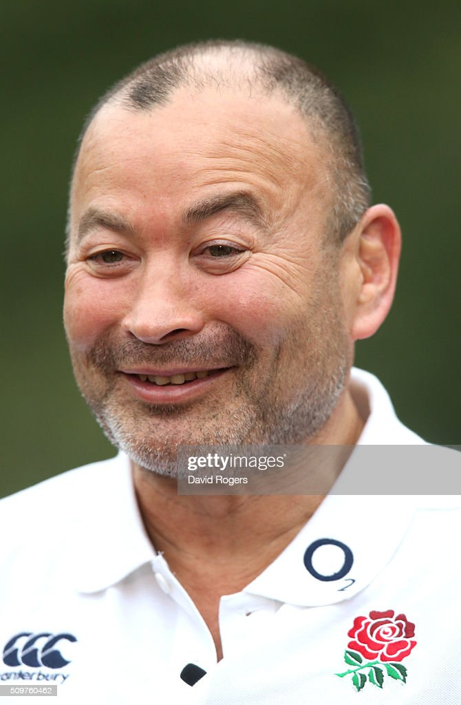 <a gi-track='captionPersonalityLinkClicked' href=/galleries/search?phrase=Eddie+Jones+-+Rugbytrainer&family=editorial&specificpeople=13966519 ng-click='$event.stopPropagation()'>Eddie Jones</a>, the England head coach, faces the media during the England media session held at Pennyhill Park on February 12, 2016 in Bagshot, England.