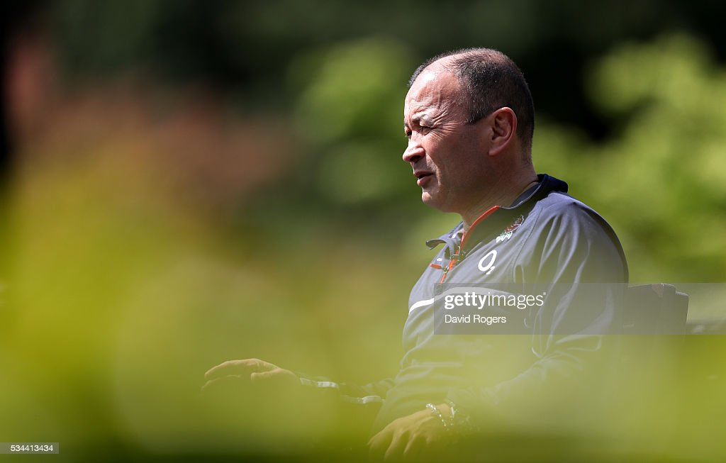 <a gi-track='captionPersonalityLinkClicked' href=/galleries/search?phrase=Eddie+Jones+-+Rugbycoach&family=editorial&specificpeople=13966519 ng-click='$event.stopPropagation()'>Eddie Jones</a>, the England head coach, faces the media during the England media session held at Pennyhill Park on May 26, 2016 in Bagshot, England.