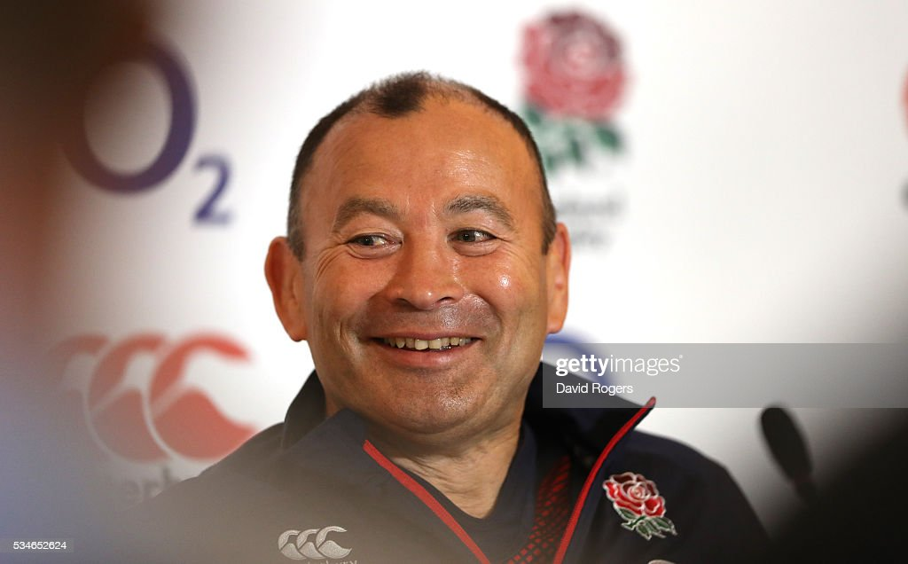 <a gi-track='captionPersonalityLinkClicked' href=/galleries/search?phrase=Eddie+Jones+-+Rugby+Coach&family=editorial&specificpeople=13966519 ng-click='$event.stopPropagation()'>Eddie Jones</a> the England head coach faces the media during the England media session held at Pennyhill Park on May 27, 2016 in Bagshot, England.