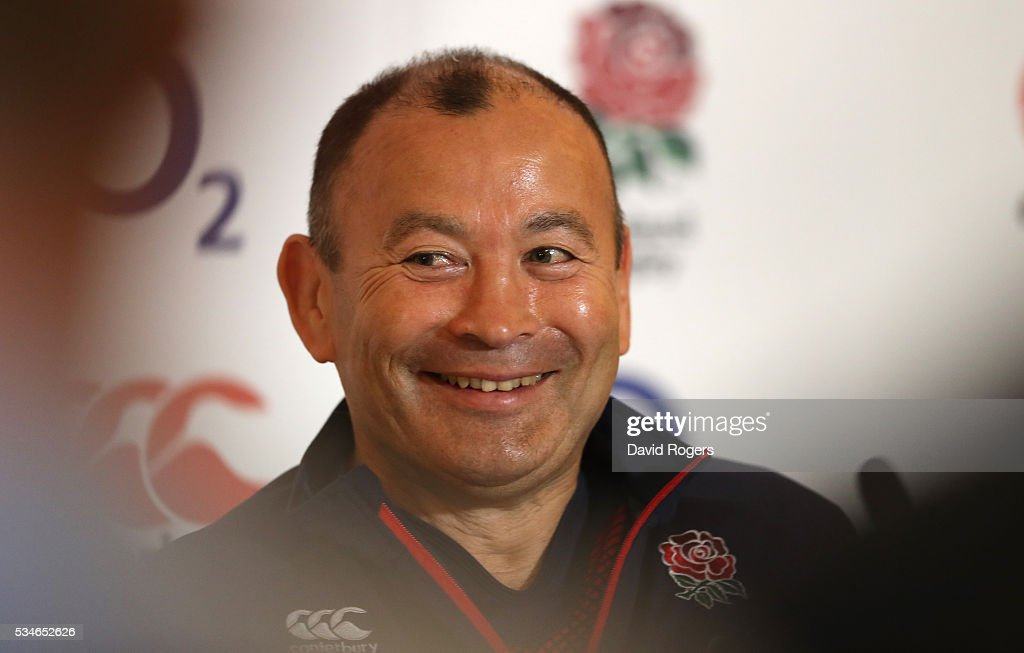 Eddie Jones the England head coach faces the media during the England media session held at Pennyhill Park on May 27, 2016 in Bagshot, England.