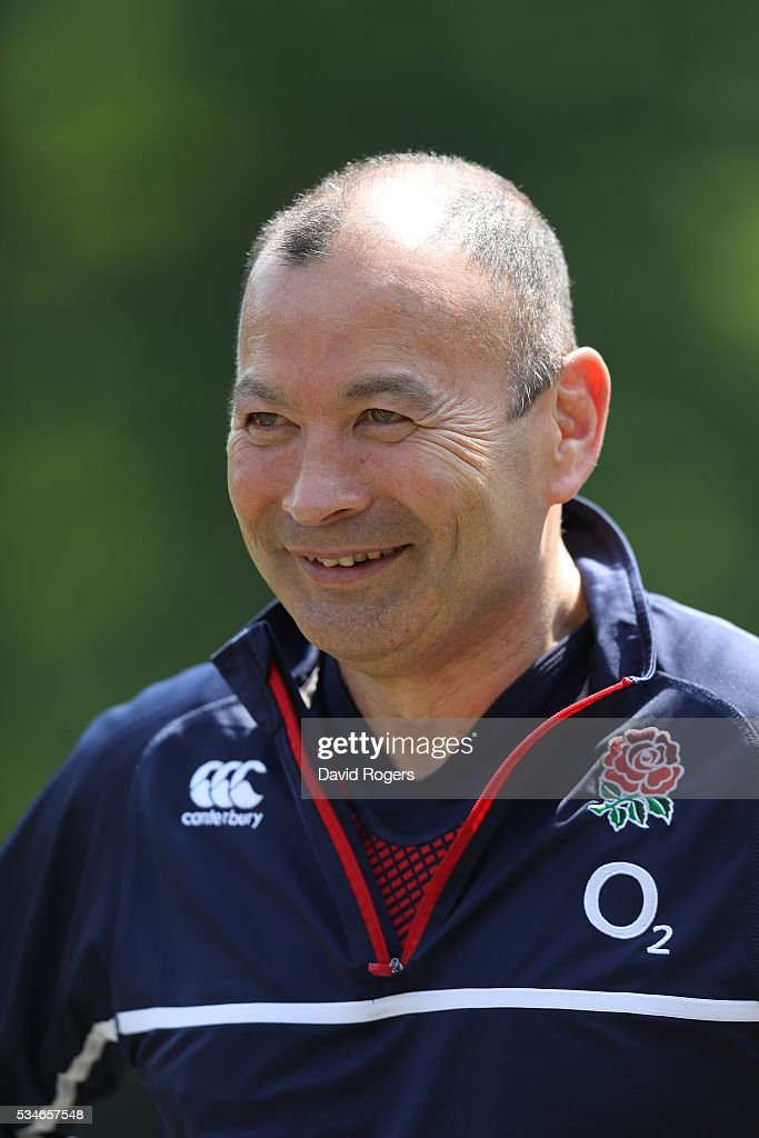 <a gi-track='captionPersonalityLinkClicked' href=/galleries/search?phrase=Eddie+Jones+-+Rugbytrainer&family=editorial&specificpeople=13966519 ng-click='$event.stopPropagation()'>Eddie Jones</a> the England head coach, faces the media during the England media session held at Pennyhill Park on May 27, 2016 in Bagshot, England.