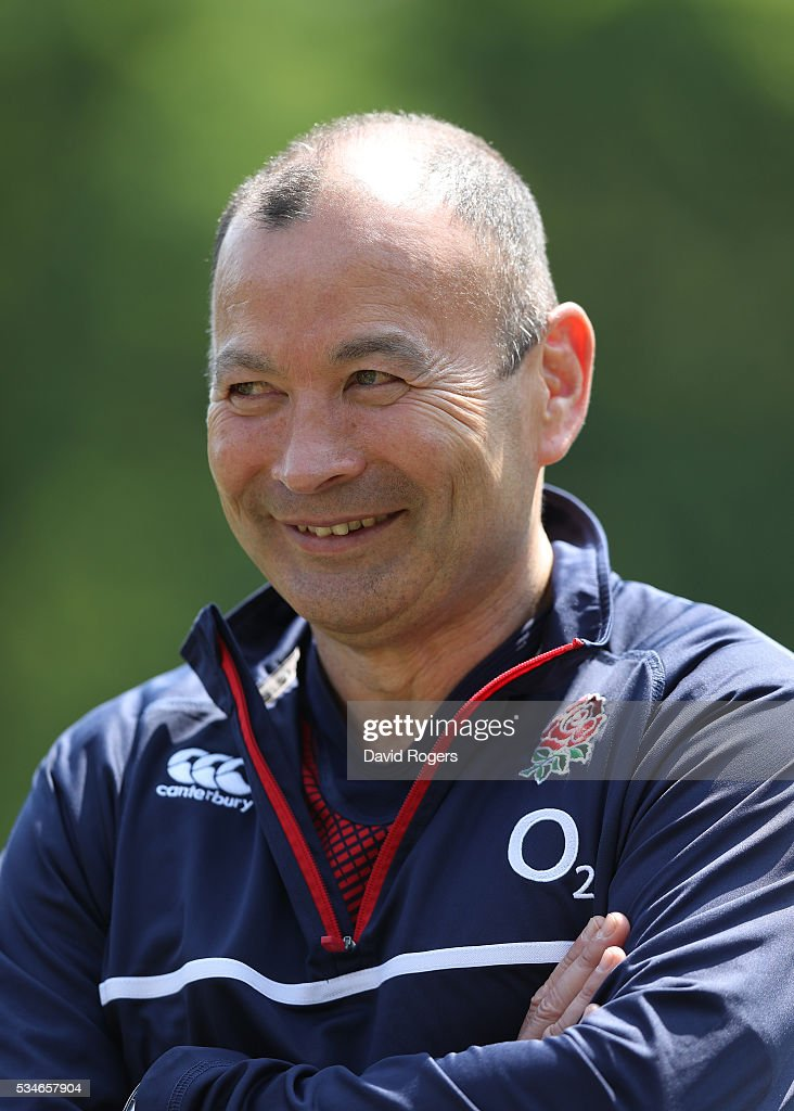 <a gi-track='captionPersonalityLinkClicked' href=/galleries/search?phrase=Eddie+Jones+-+Rugby+Coach&family=editorial&specificpeople=13966519 ng-click='$event.stopPropagation()'>Eddie Jones</a> the England head coach, faces the media during the England media session held at Pennyhill Park on May 27, 2016 in Bagshot, England.