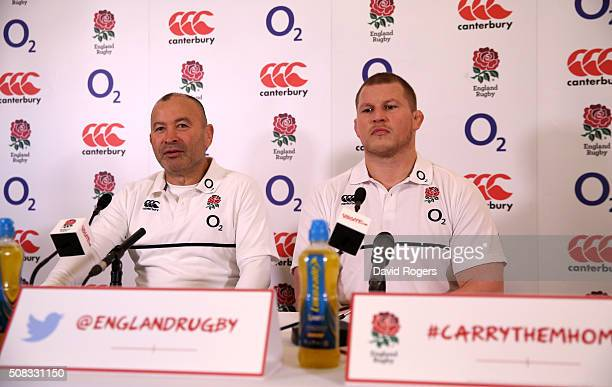 Eddie Jones the England head coach faces the media with his captain Dylan Hartley during the England media conference held at Pennyhill Park on...