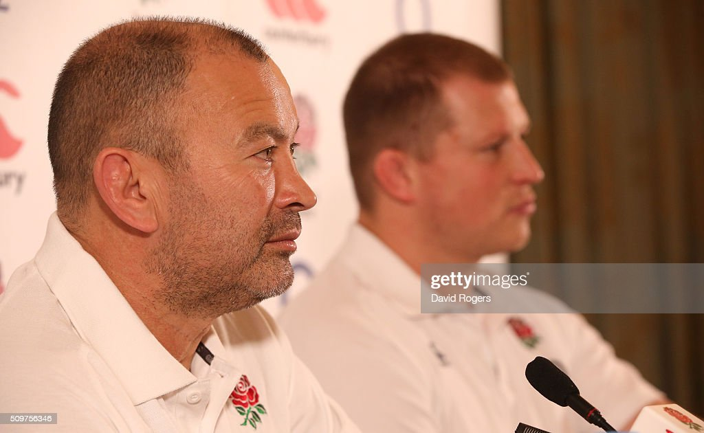 <a gi-track='captionPersonalityLinkClicked' href=/galleries/search?phrase=Eddie+Jones+-+Rugby+Coach&family=editorial&specificpeople=13966519 ng-click='$event.stopPropagation()'>Eddie Jones</a>, the England head coach, faces the media with his captain <a gi-track='captionPersonalityLinkClicked' href=/galleries/search?phrase=Dylan+Hartley&family=editorial&specificpeople=764177 ng-click='$event.stopPropagation()'>Dylan Hartley</a> (R) during the England media session held at Pennyhill Park on February 12, 2016 in Bagshot, England.
