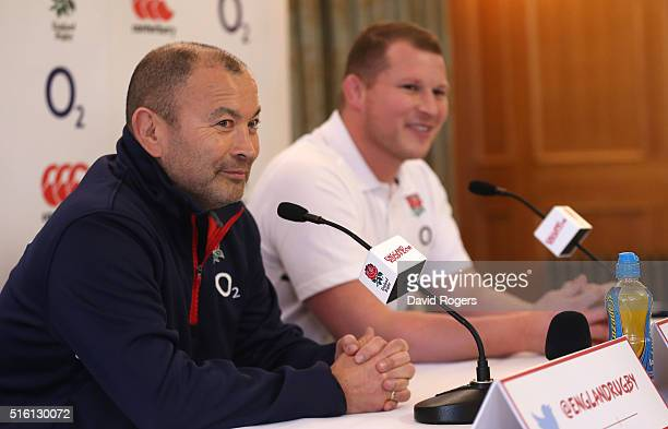 Eddie Jones the England head coach faces the media with his captain Dylan Hartley during the England media session held at Pennyhill Park on March 17...