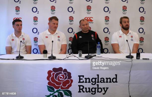 Eddie Jones the England head coach faces the media with his two co captains George Ford and Chris Robshaw look on with Dylan Hartley who has been...