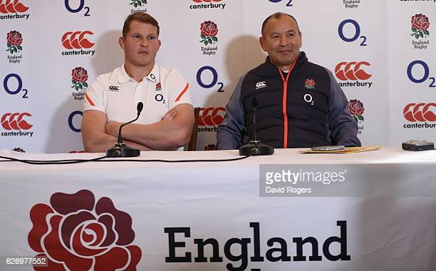 Eddie Jones the England head coach faces the media wth team captain Dylan Hartley during the England press conference held at Pennyhill Park on...