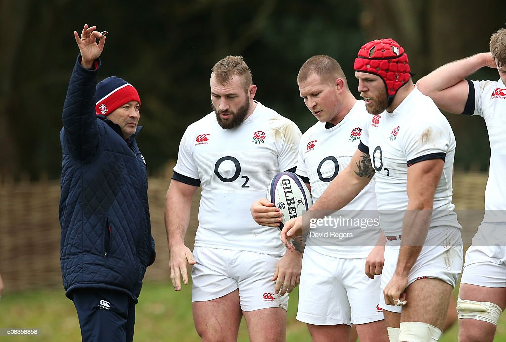 Eddie Jones, the England head coach, issues instructions during the England training session held at Pennyhill Park on February 4, 2016 in Bagshot, England.