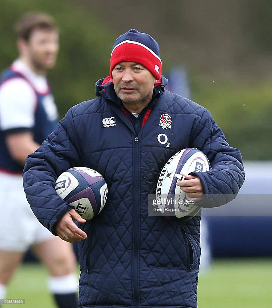 Eddie Jones, the England head coach, looks on during the England training session held at Pennyhill Park on February 4, 2016 in Bagshot, England.