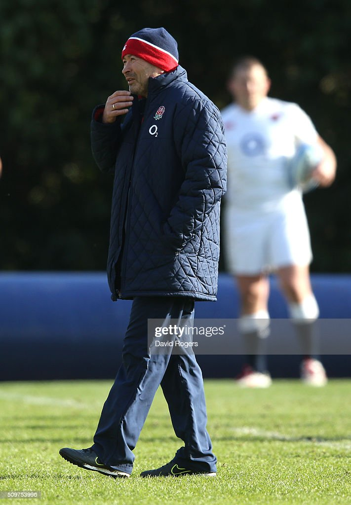 Eddie Jones, the England head coach looks on during the England training session held at Pennyhill Park on February 12, 2016 in Bagshot, England.