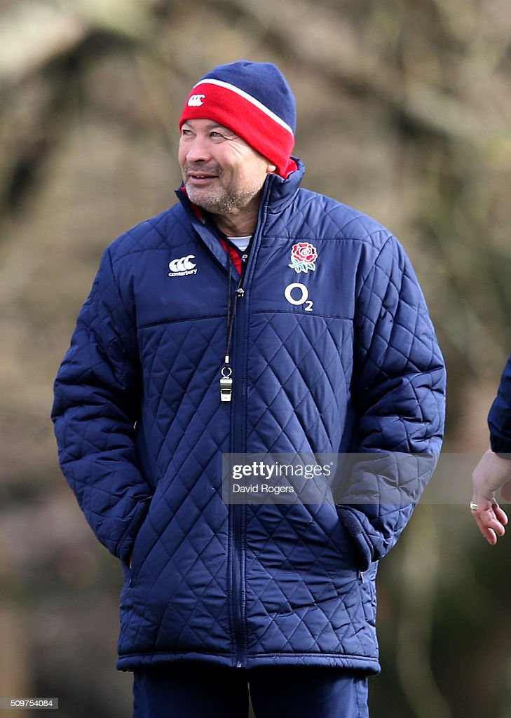 <a gi-track='captionPersonalityLinkClicked' href=/galleries/search?phrase=Eddie+Jones+-+Rugby+Coach&family=editorial&specificpeople=13966519 ng-click='$event.stopPropagation()'>Eddie Jones</a>, the England head coach looks on during the England training session held at Pennyhill Park on February 12, 2016 in Bagshot, England.