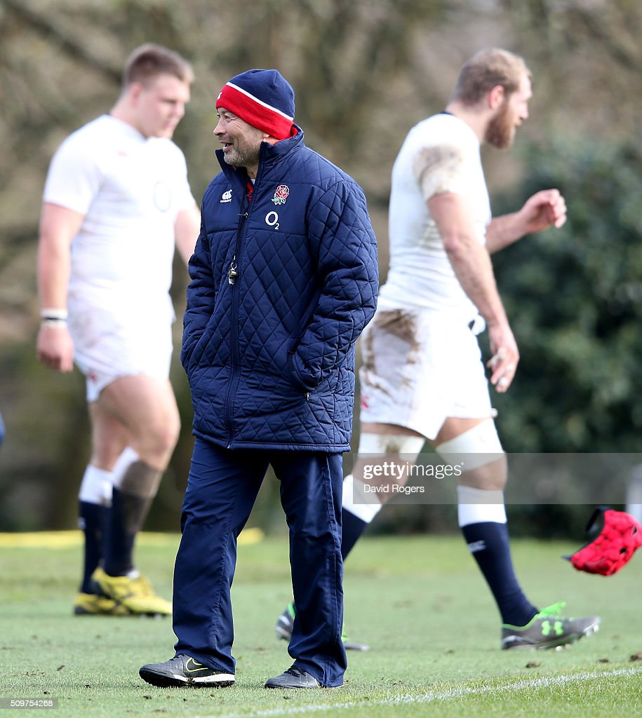 <a gi-track='captionPersonalityLinkClicked' href=/galleries/search?phrase=Eddie+Jones+-+Rugbycoach&family=editorial&specificpeople=13966519 ng-click='$event.stopPropagation()'>Eddie Jones</a>, the England head coach looks on during the England training session held at Pennyhill Park on February 12, 2016 in Bagshot, England.
